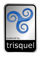 Powered by Trisquel Aluminium Case Badge